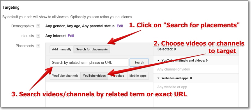 Click on `Search for placements' tab and choose the placements where you want your videos to appear. You can target all videos placed in a Youtube channel you've chosen or you can choose specific videos only.