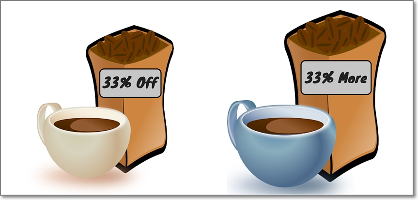 subjects were offered two deals on loose coffee beans: 33% extra free or 33% off the price