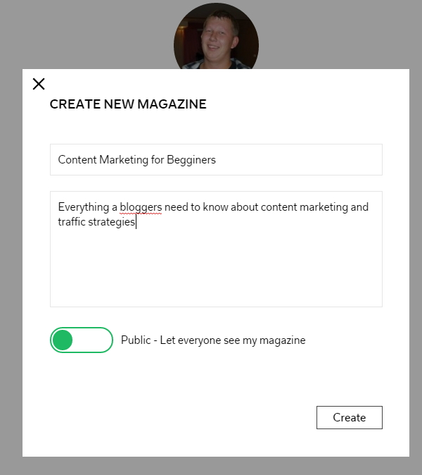 Create new Flipboard Magazine