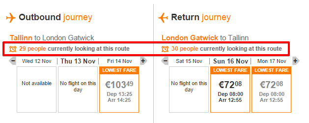 EasyJet Urgency Offer