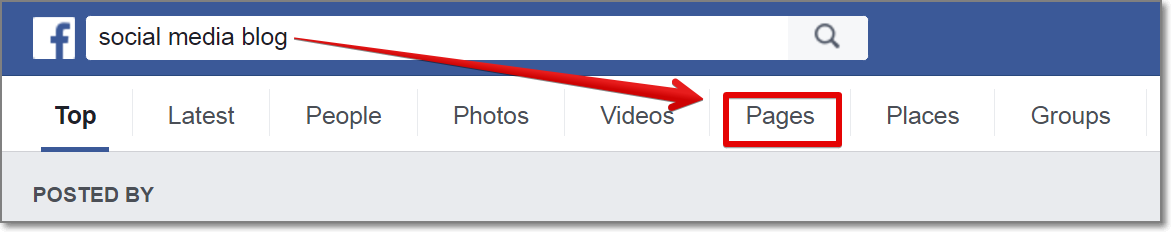 "go to Facebook, type a keyword related to your niche and press on ""Pages"" tab."