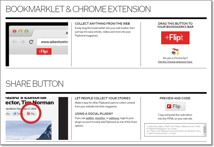 Head over to Flipboard tools page and choose which flipping options suits you the best