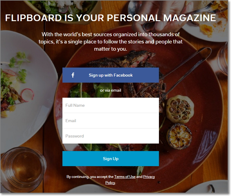 To begin using Flipboard head over to their home page and create your profile there