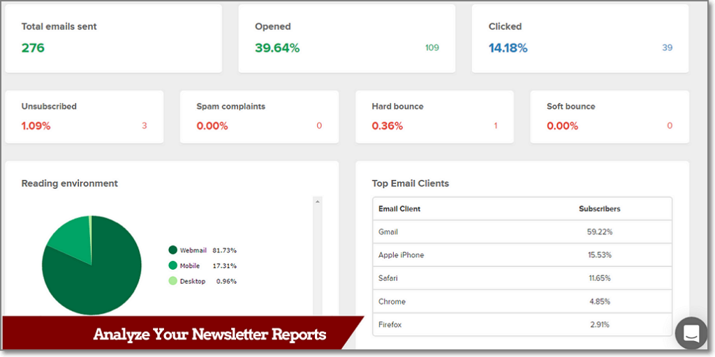 MailerLite Beautiful & Comprehensive Newsletter Reports