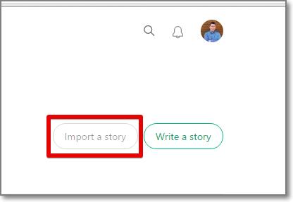 Medium import a story button