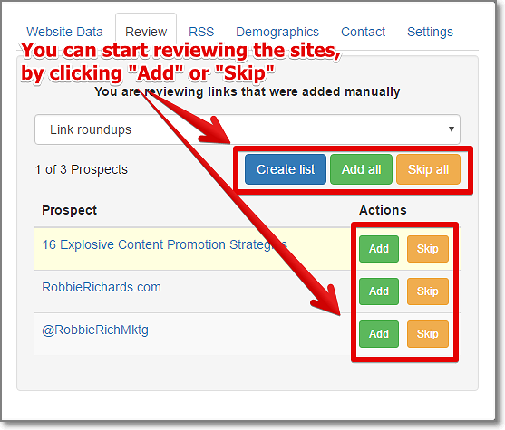Open the Chrome extension and start reviewing your links