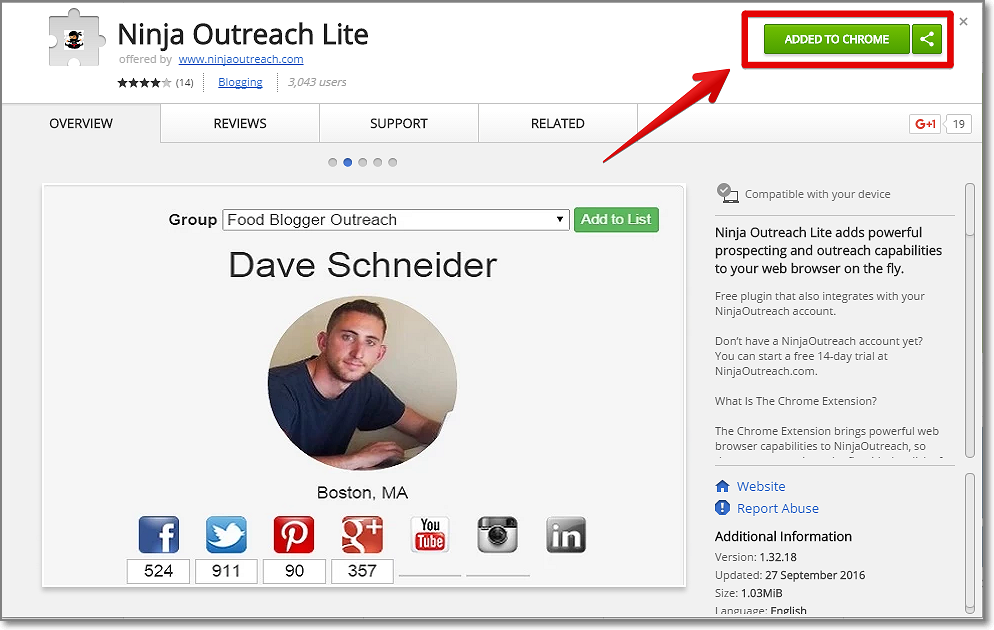 Download and install Ninja Outreach Chrome extension