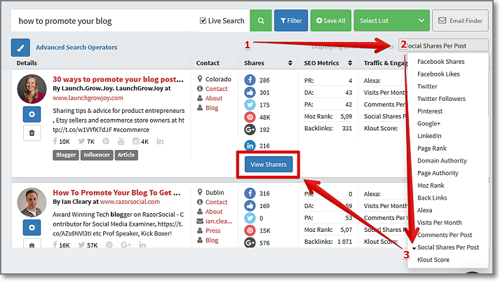 "ort the results by ""Social Shares per Post"" to get the most shared articles and click on ""View Sharers"" button"