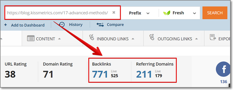 Put the identified URL into Ahrefs Content analysis tool