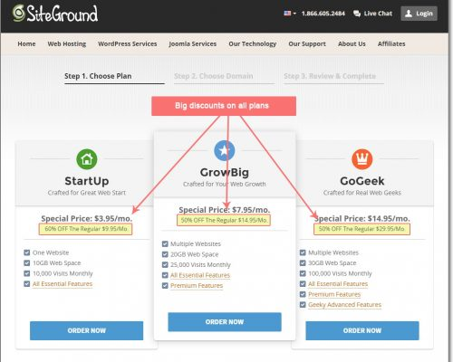 Get big discounts on all SiteGround hosting plans
