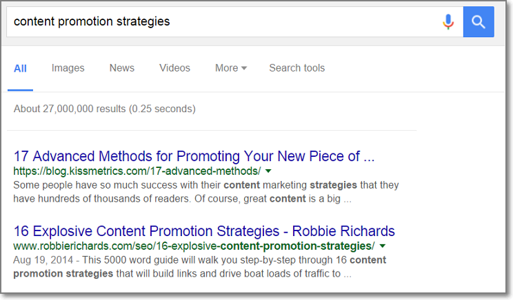 Type Keyword in Google to Search for Possible Content Promotion Prospects