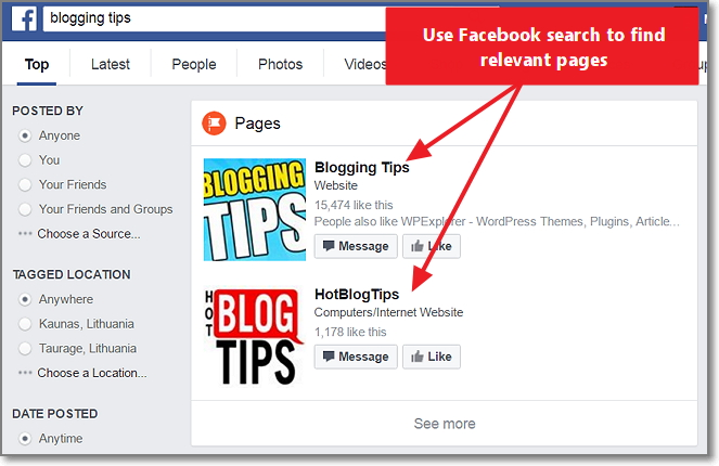 Use Facebook search to find relevant facebook pages