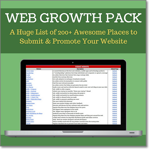 WEB GROWTH PACK - A Huge List of 200+ Awesome Places to Submit & Promote Your Website