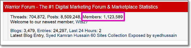 marketing-focused Warrior Forum currently has more than 1,1 million registered users