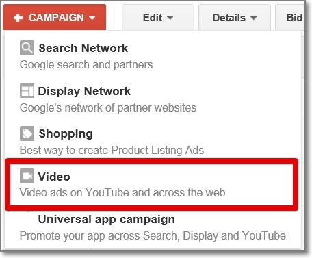 When you click on the 'Campaign' button, you'll need to select the 'Video' option