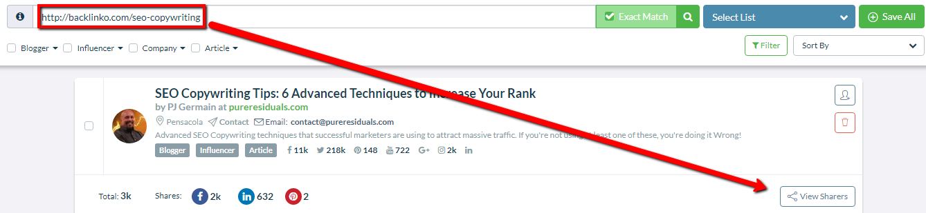 Quickly Find Who Shared Blog Posts