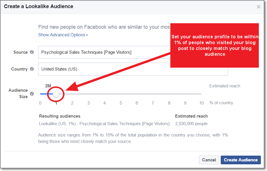 based on this recently created custom audience, create a lookalike audience