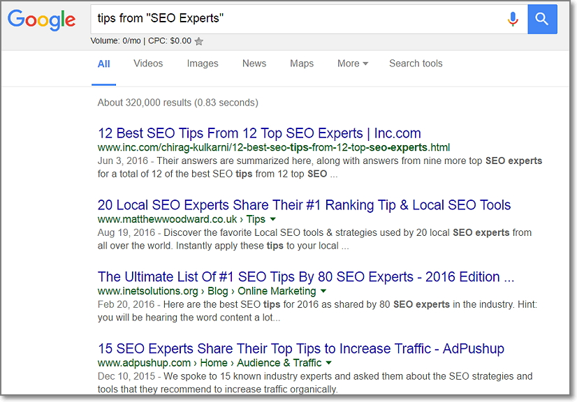 "Just use [Tips from ""[Niche] Experts""] operator when searching on Google."