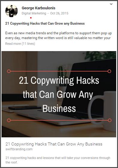 Google+ community post