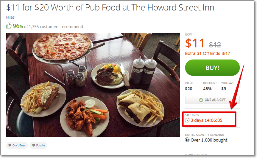 Groupon is probably the best example of creating urgency sense with regular deals