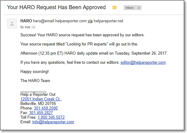 Your HARO Request Has Been Approved