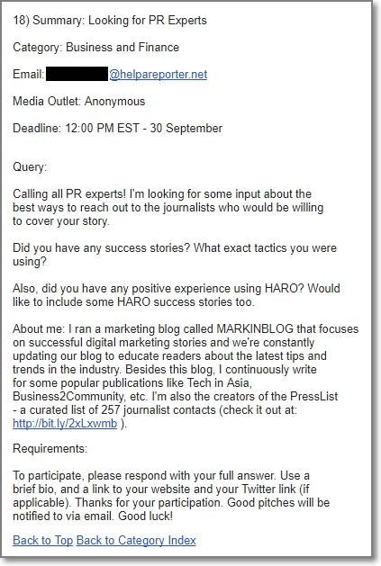 HARO newsletter
