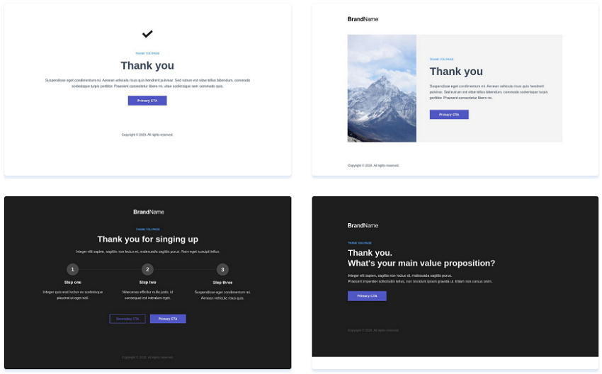 Instapage Thank You Page Templates