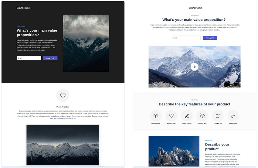 Instapage Trial Signup Templates