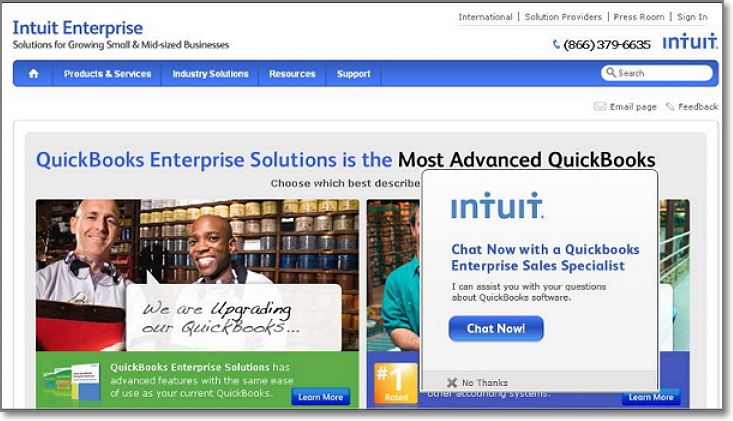 Intuit lead page conversions increased by 190%