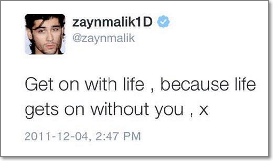 Here's a tweet from Zayn Malik that would motivate followers to retweet and help someone else, who is depressed, rejected, or in pain