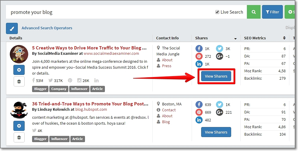 "Once you have the top posts by Twitter shares, click the ""View Sharers"" button"