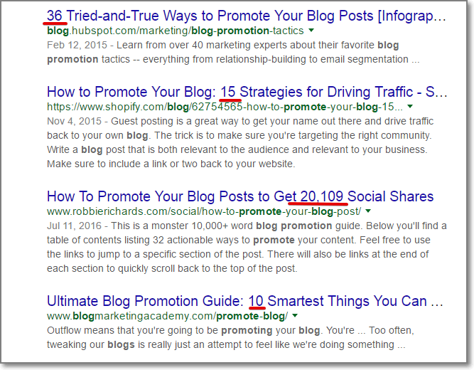 "If you go to Google and put a keyword ""Promote blog"", you'll easily notice that 90% of title tags contain a number"