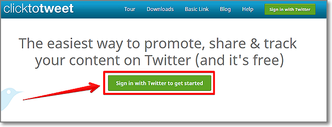 Head over to ClickToTweet.com and sign in with your Twitter account