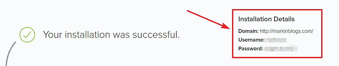 Wordpress blog instalation successful