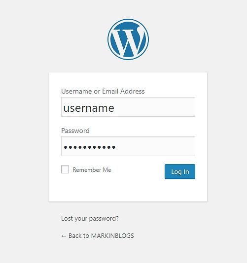 Wordpress blog login