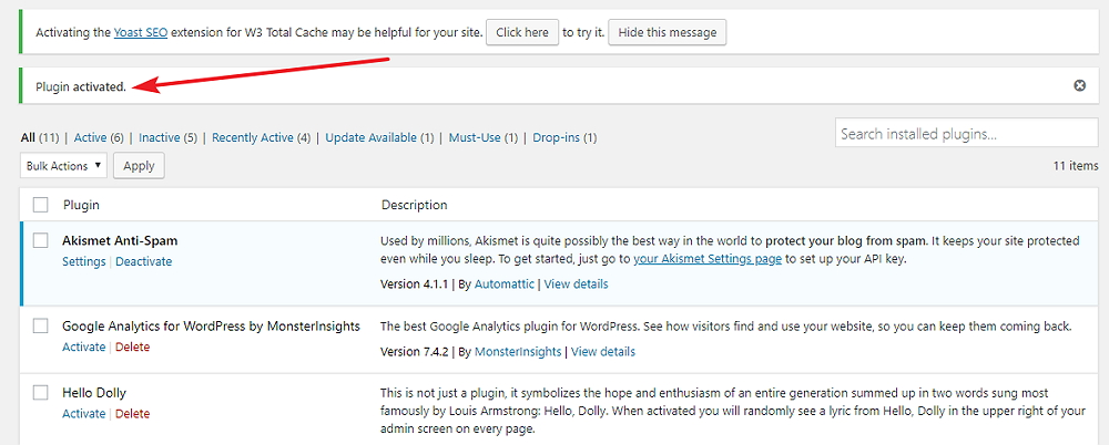 Wordpress plugins activated