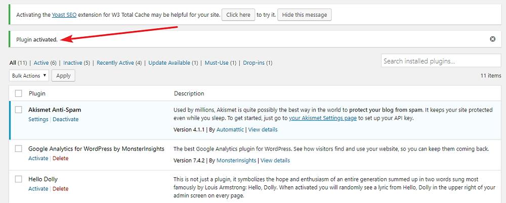 Wordpress plugins activated