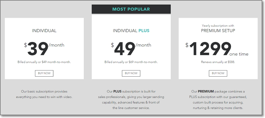 pricing page on BombBomb.com
