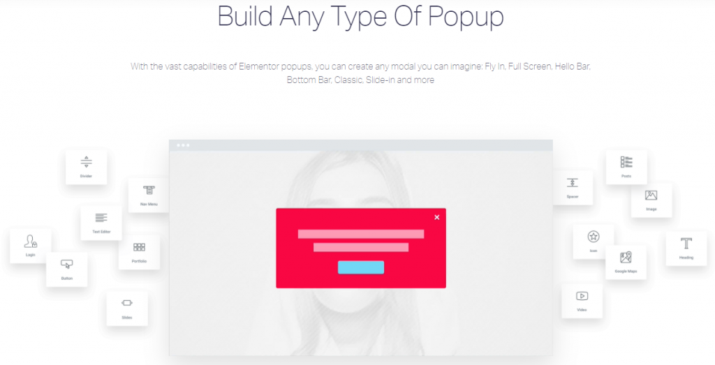 build any type of popup elementor
