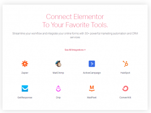 elementor form widget integrations