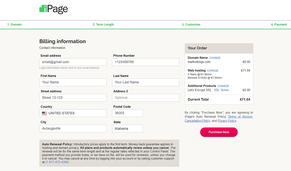 iPage billing checkout