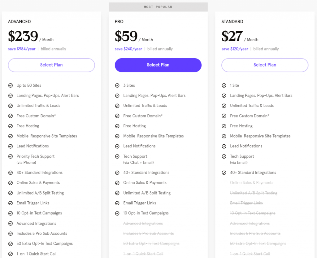 leadpages annual pricing