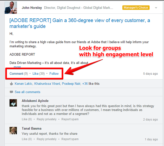 LinkedIn Group With High Engagement Level