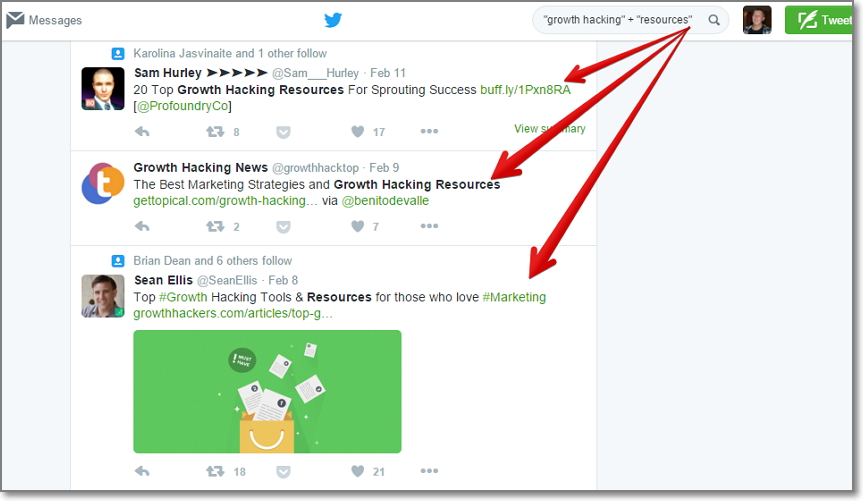 you can do the same search on Twitter - growth hacking resources